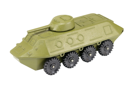 Green soviet tank toy isolated on white background