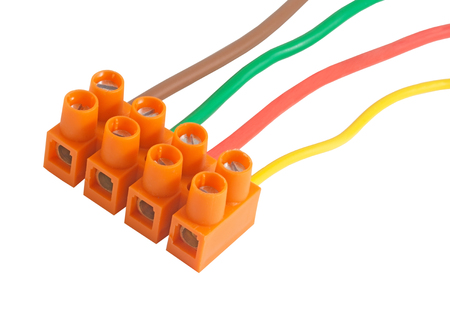Electric cables with terminals over white background