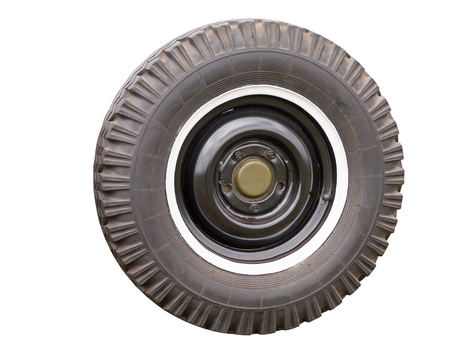 traction: car old wheel isolated on white background Stock Photo