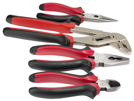 different Work tools on white background Stock Photo