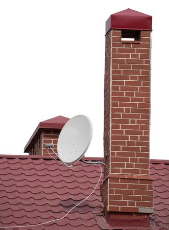 old photo: brick smokestack isolated on white background Stock Photo
