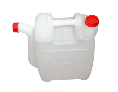 storage: white plastic container with water on white background