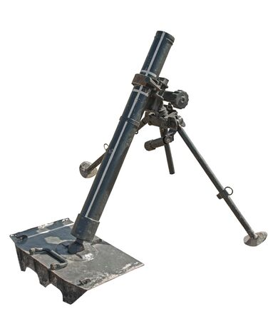 old German mortar on white background
