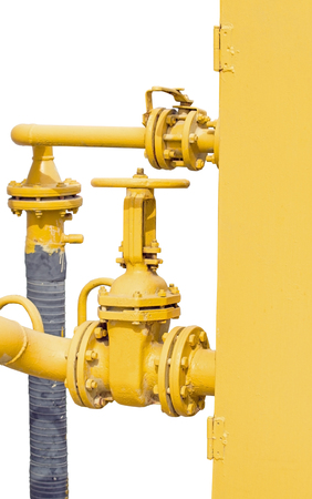 big metallic Pipes and Valves on white background