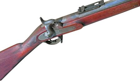 Antique muzzle loading firearm isolated on white background Stock Photo