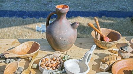 clay jug handmade on the table