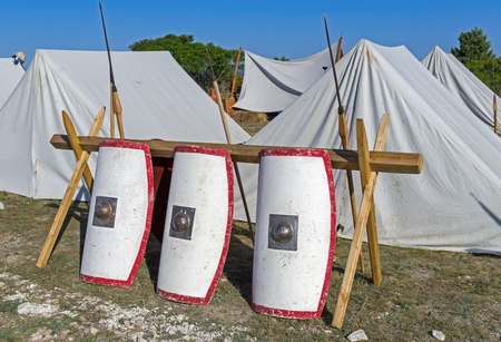 Tents in an ancient Roman military encampment - historical reenactment