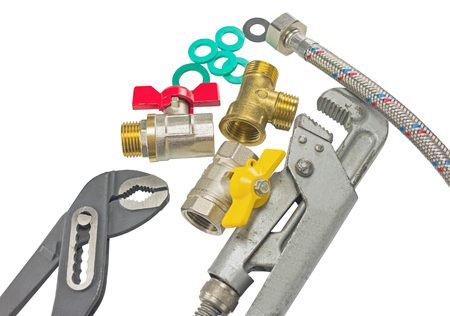 connectors: plumber tools and accessories on white background