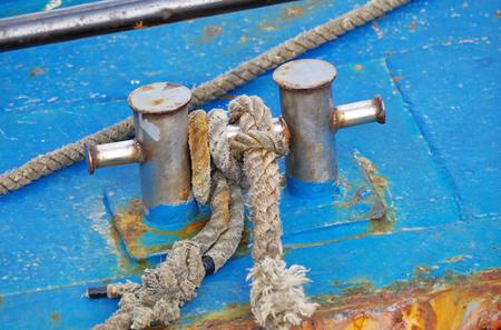 Bollard with rope abovedeck old ship Banco de Imagens