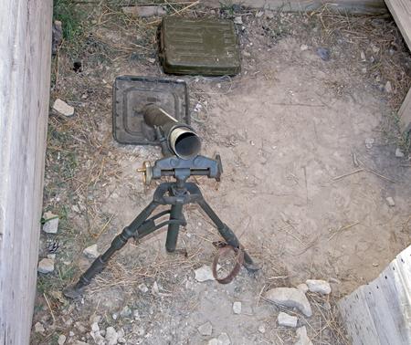 old German mortar on position