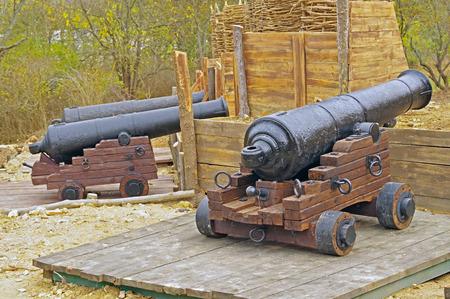 imitation old military coastal position of ship gun Stock Photo