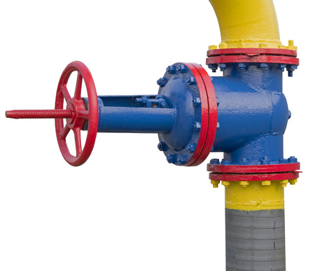 metal pipe with valve on white background Stock Photo