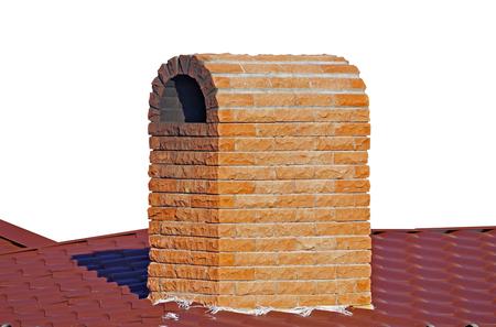 brick smokestack isolated on white background 版權商用圖片