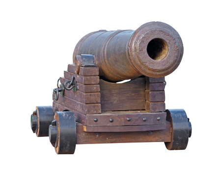 Old medieval artillery canon on white background
