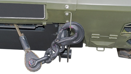 New cable and hook for towing on military car