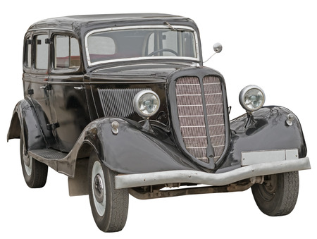 Retro (second world war period) car isolated on white Stock Photo