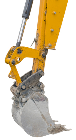 part of modern yellow excavator machines isolated on white background Stock Photo