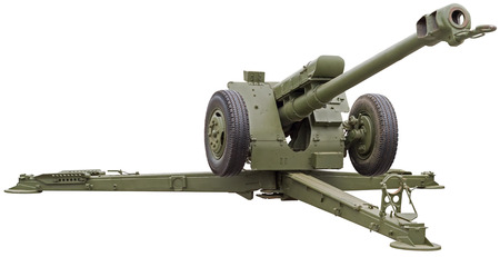 Soviet D-30 howitzer on white background Imagens
