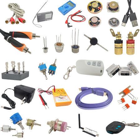 Digital  multimeter, cable and radio components on white background Фото со стока