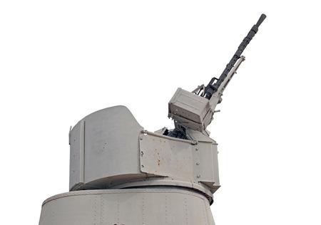 Twin machine guns atop a battle ship