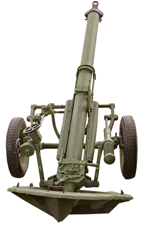 Old Russian Mortar cannon gun on white background