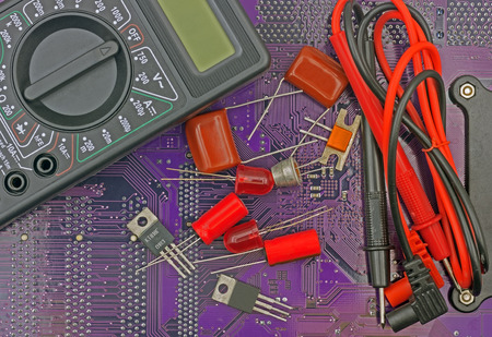 several electronic components on printed circuit board Stock Photo