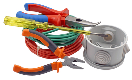 Electrician tools components for use in electrical installations on white background 写真素材