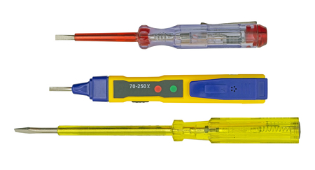 Electrical tester screwdrivers on white background