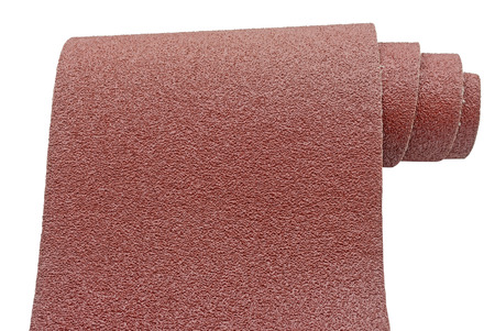 Roll of sandpaper isolated on white background