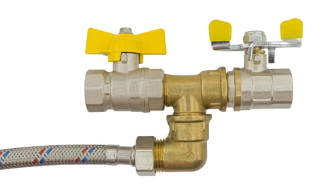 assembled flexible fitting, water metal valves and union on white background
