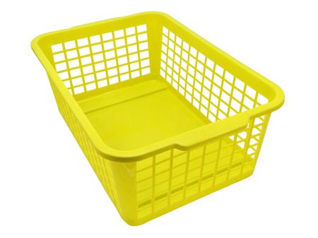 Empty plastic basket isolated on white background