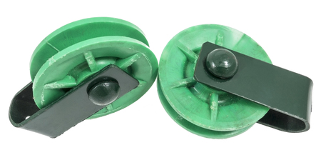 two green Pulleys on white background