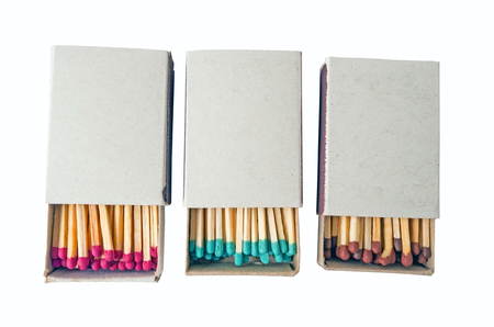 Open Box of Matches on White Background