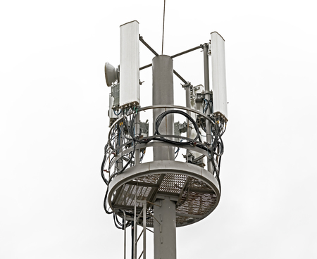 Tower with aerials of cellular on white background 写真素材