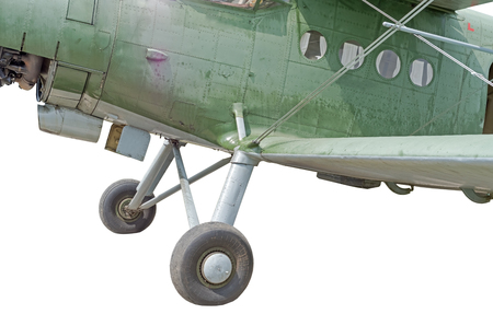 Old classic airplane on white background Imagens
