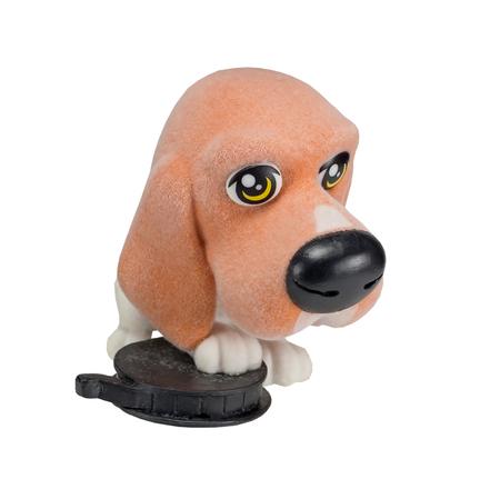 figurine souvenir dog on white background