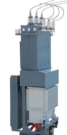 high voltage transformer on white background Stockfoto - 105916973