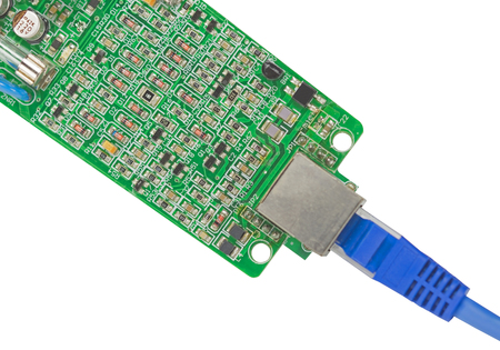 Modern printed-circuit board with electronic components on white background