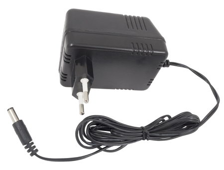 AC/DC adapter on white background.