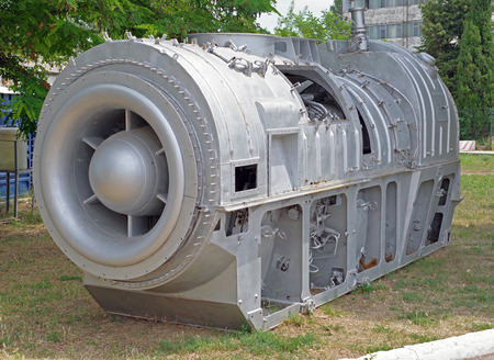 Close up image of the front of a Jet Fighter engine Stock Photo