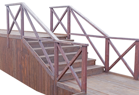 wooden staircases with railings on white background 写真素材