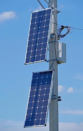 new solar panel on the sky background 免版税图像