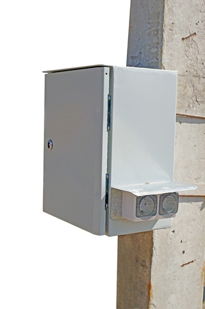 Outdoor cabinets for electrical equipment on white background Banco de Imagens