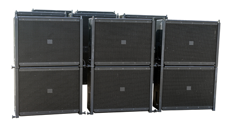 Professional musical sound dynamics of large size on white background Stock Photo