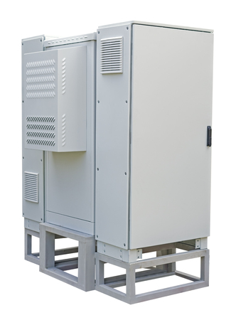 Outdoor cabinet for electrical equipment on white background