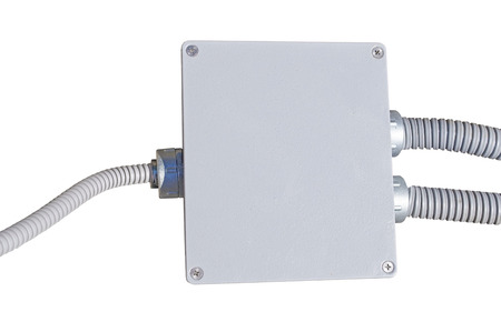 electrical junction box on white background