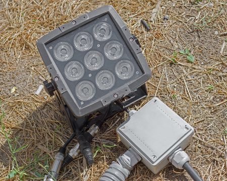 Close up outdoor LED lamp on the yard