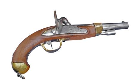 Antique pistol 18th century on white background