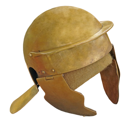Roman soldier helmet on white background