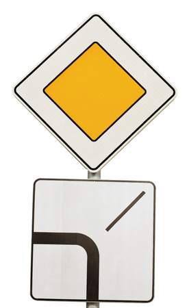 Road signs isolated on white background Stock Photo